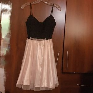 Pretty Black Lace & Pink Tulle Dress Size S